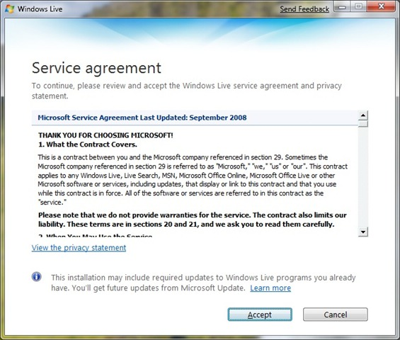 Installing windows live essentials teching it easy with windows setup after launching the windows live essentials setup the welcome screen is displayed next is the service agreement page which you must agree to then platinumwayz