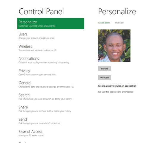 how to change user picture in windows 8
