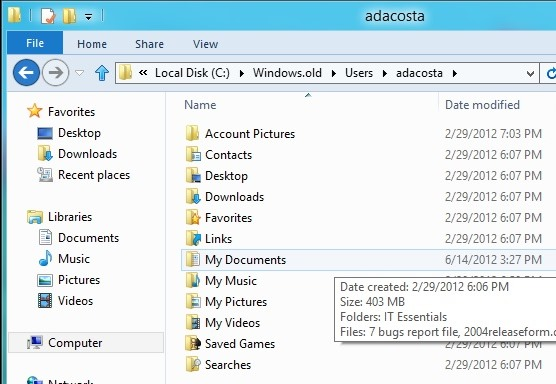 how to download files into windows.old