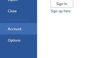 how to change account ms office activation