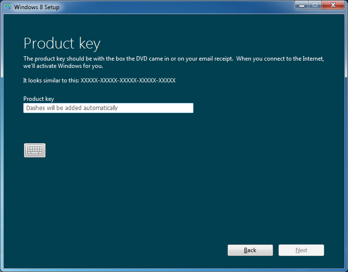 I have product key for windows 8 which i want to install for Windows 07 product key