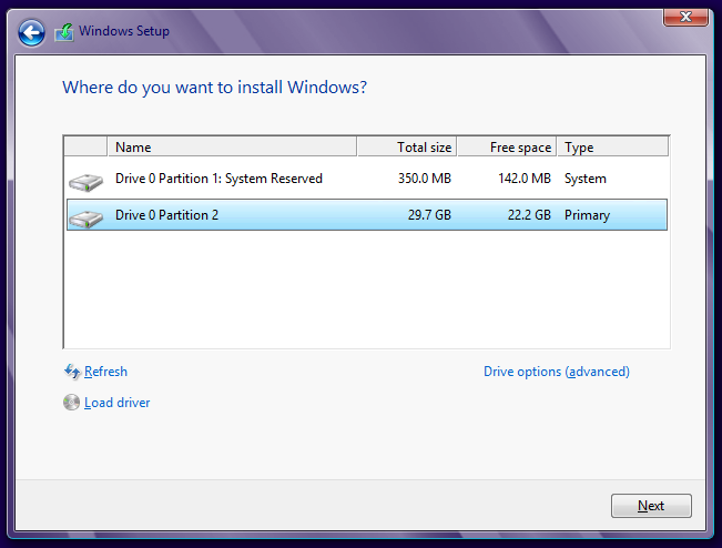 Select The System Drive Where Windows 8 Is Installed