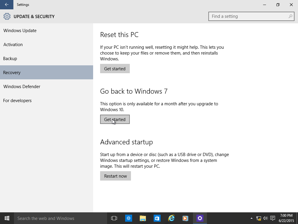 How to: Rollback to a previous version of Windows from Windows 10