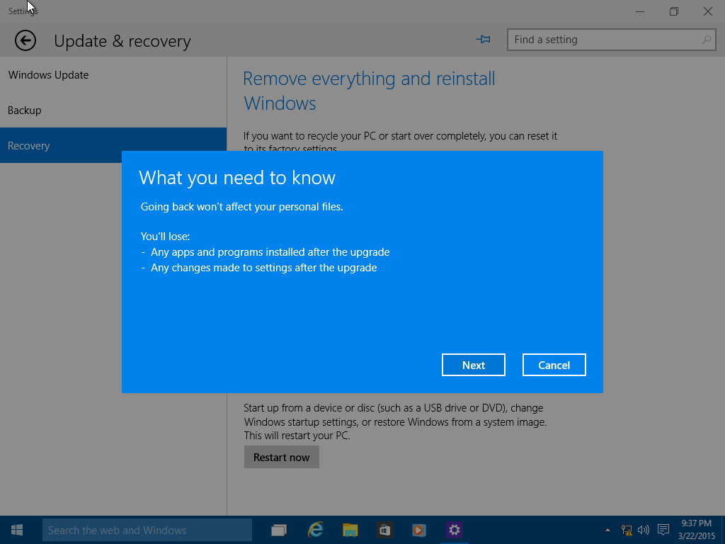 How to Use the Rollback Function in Windows 10 1709, 1703
